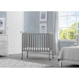 Delta Children Folding Portable Crib with Mattress, Grey