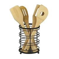 Sweet Home Collection Flatwire Rust Resistant Black Cutlery Holder