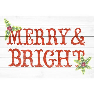 Marmont Hill - Handmade Holly and Merry Painting Print on White Wood