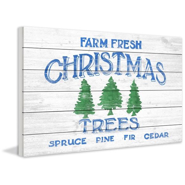 'Three Christmas Trees' Painting Print on White Wood