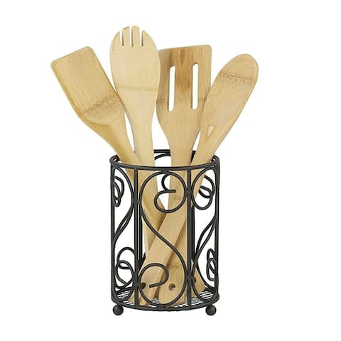 Sweet Home Collection Heavyweight Rust Resistant Black Cutlery Holder
