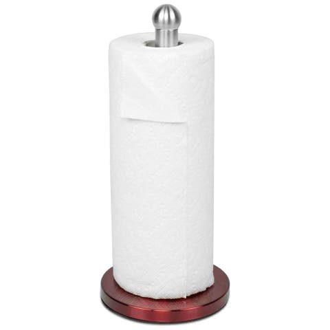 "Sweet Home Collection Stainless Steel Paper Towel Holder with Red Base (13""x6""x6"")"