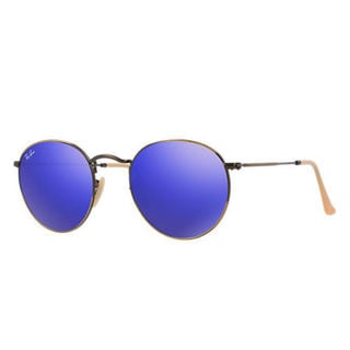 Ray Ban Round RB3447 Unisex Bronze Copper Frame Sunglasses Blue Mirror Lenses