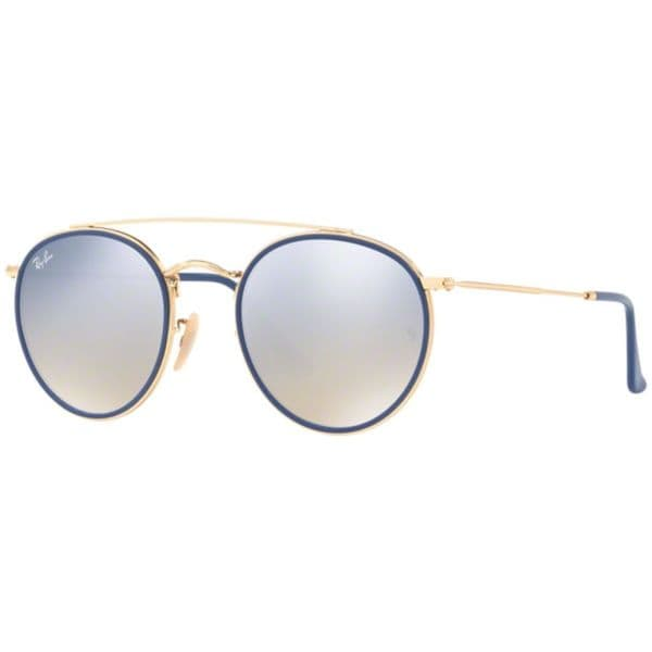 abe53db21713 RayBan RB3647N Round Double Bridge Sunglasses Gold  Silver Gradient Flash  51mm