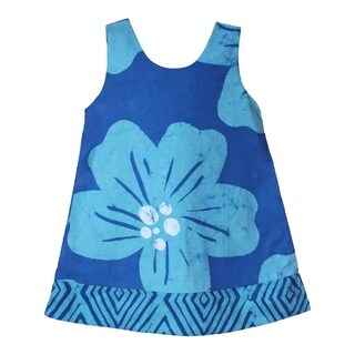 Hand Batiked Girls Reversible Dress - Giant Flower Teal (Ghana)