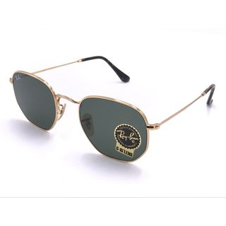Ray Ban Hexagonal RB3548 Unisex Gold Frame Green Classic G-15 Lenses Sunglasses