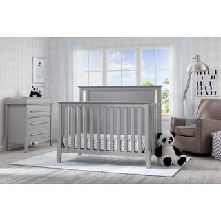 Serta Mid-Century Modern Lifestyle 4-in-1 Convertible Crib, Grey (Option: Off-White Finish)
