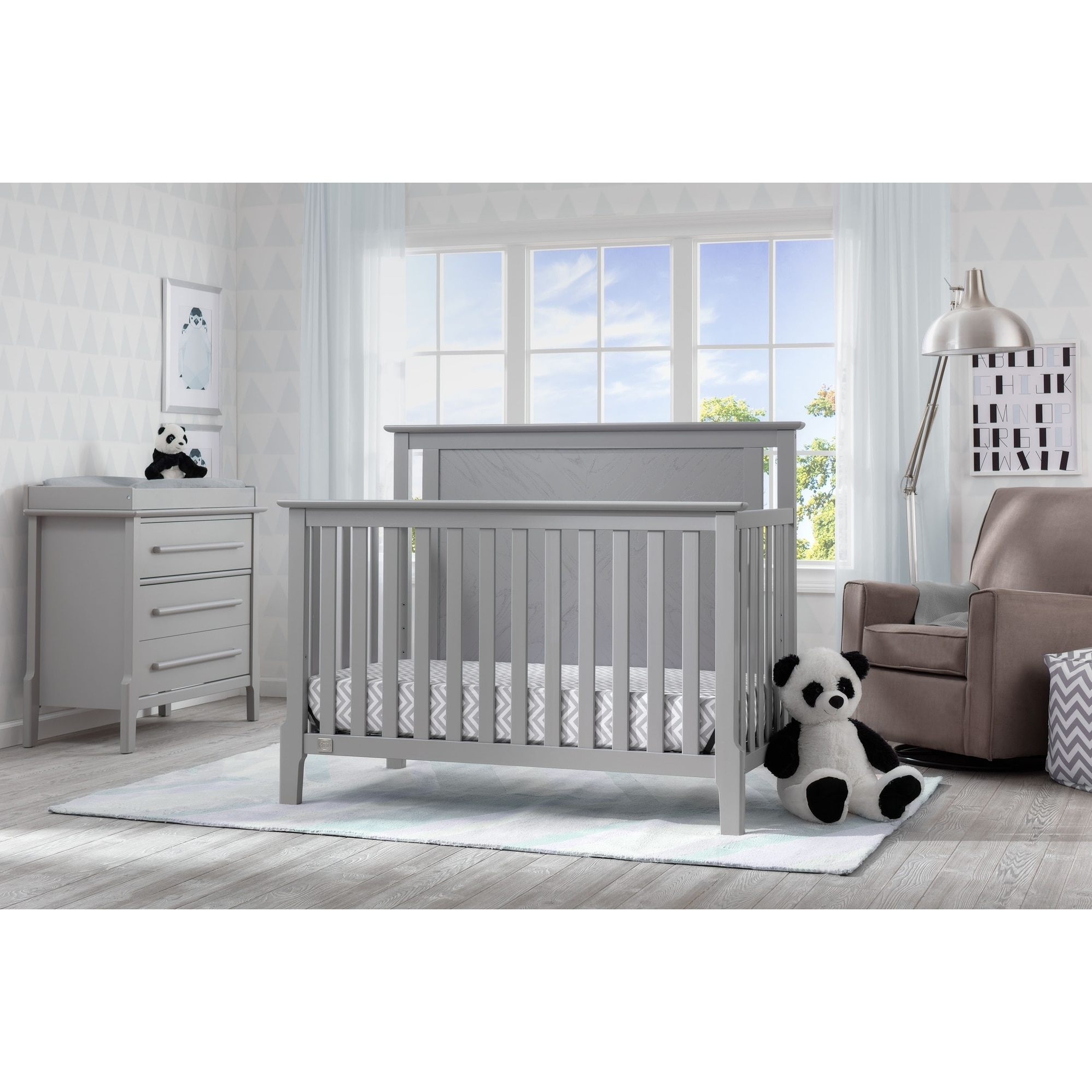Details About Serta Mid Century Modern Lifestyle 4 In 1 Convertible Crib Grey