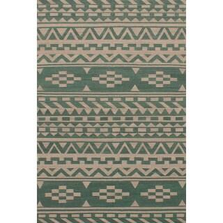 eCarpetGallery Izmir Green Wool Flatweave Kilim Rug (5'2 x 8'1)