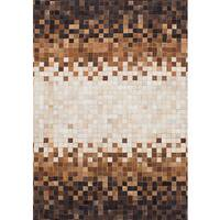 eCarpetGallery Patchwork Brown/Ivory Cowhide Leather Handmade Rug (4'1 x 5'10)