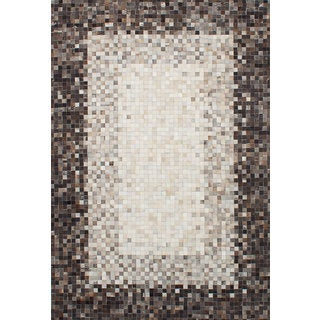 eCarpetGallery Handmade Cowhide Patchwork Black/Ivory Leather Rug (6'7 x 9'9)