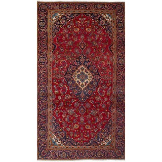 eCarpetGallery Red Wool Hand-knotted Kashan Rug (4'8 x 9')