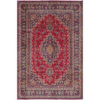 eCarpetGallery Mashad Red/Blue Wool/Cotton Hand-knotted Oriental Area Rug (6'5 x 10')