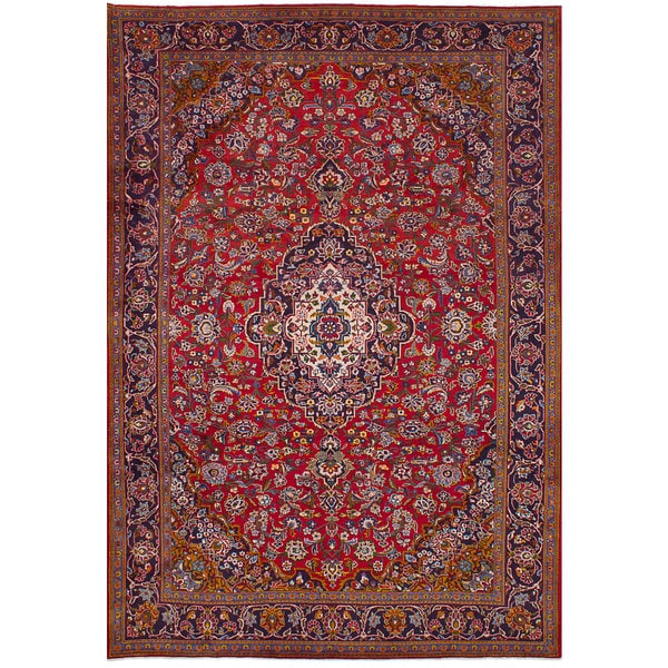 Shop Ecarpetgallery Hand Knotted Persian Kashan Red Wool: Shop ECarpetGallery Kashan Red Hand-knotted Wool Rug (7'0
