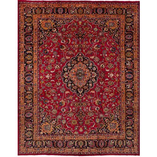 eCarpetGallery Hand-Knotted Mashad Red Wool Rug (8'2 x 10'11)