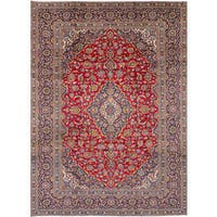 eCarpetGallery Red Wool Hand-knotted Kashan Rug - 8'0 x 11'4