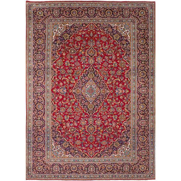 Shop Ecarpetgallery Hand Knotted Persian Kashan Red Wool: Shop ECarpetGallery Red Wool Hand-Knotted Kashan Rug (8'0