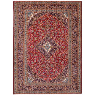 eCarpetGallery Kashan Red Wool Hand-knotted Rug (8'1 x 11'5)