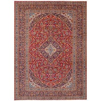 eCarpetGallery Kashan Red Wool Hand-knotted Rug - 8'1 x 11'5