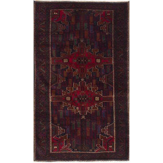 eCarpetGallery Royal Baluch Blue/Red Hand-knotted Wool Rug (3'8 x 6'5)