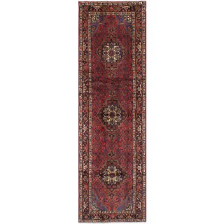 eCarpetGallery Roodbar Red/Blue Wool/Cotton Hand-knotted Oriental Runner Rug (2'5 x 8'10)