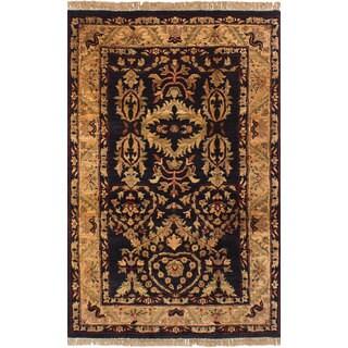 eCarpetGallery Jaipur Black Wool/Cotton Hand-knotted Rug (3'11 x 6'4)