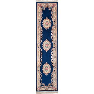 eCarpetGallery Aubousson Blue Wool Hand-knotted Rug - 2'6 x 11'10
