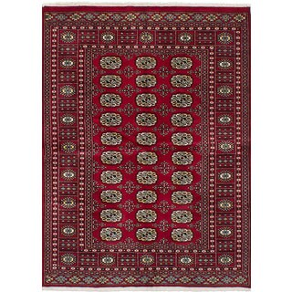 eCarpetGallery Red Wool Hand-knotted Finest Peshawar Bokhara Rug (4'2x5'11)