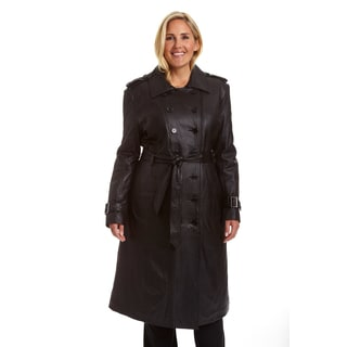 Excelled Ladies Plus Lambskin Trench Coat