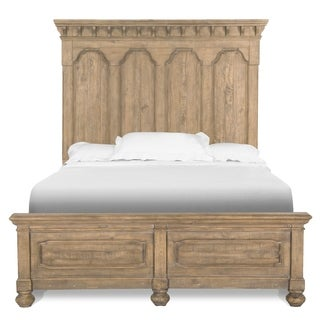 Magnussen Home Furnishings Graham Hills Farmhouse Cracked Wheat Pine Wood Queen Panel Bed