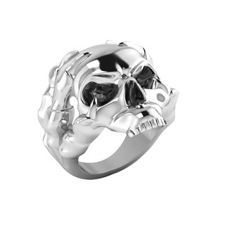 Solid Sterling Silver Men's Skull Ring with Dragon Claws