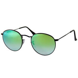 Ray Ban Round RB3447 Unisex Black Frame Green Flash Gradient Lenses Sunglasses