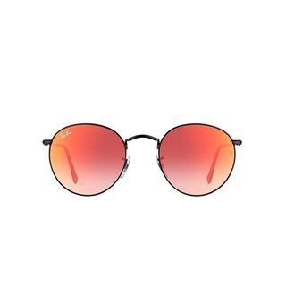 Ray Ban Round RB3447 Unisex Black Frame Sunglasses Orange Flash Gradient Lenses