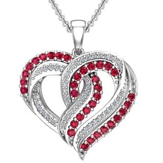 Double heart design pendant necklace with Lab-grown Red Rubies & Created White Sapphires