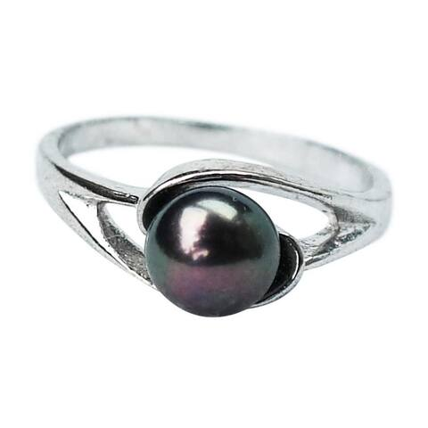 Black Pearl on Silver Band Ring - Size 6 or 8