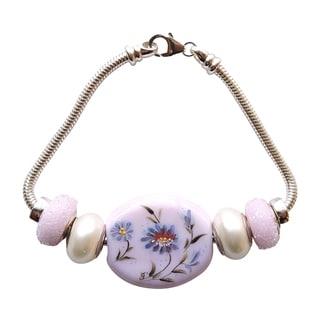 """Pink Flower Bead Bracelet-Size 7-1/2"""""""