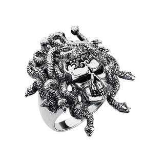 Men's Sterling Silver Spinel Medusa Skull Ring