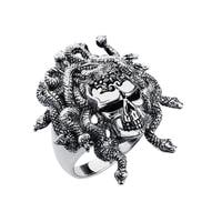 Solid Sterling Silver Textured Medusa Skull Ring with Viper Snakes