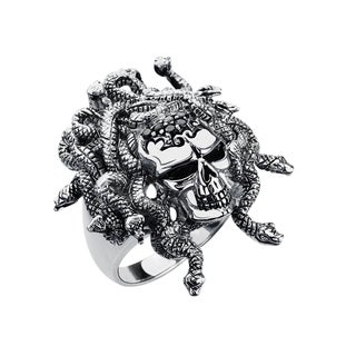 Solid Sterling Silver Medusa Skull Ring with Black Spinels for Anniversary, Birthday and Father's Day