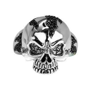 Men's Sterling Silver Skull Ring with Black Spinel