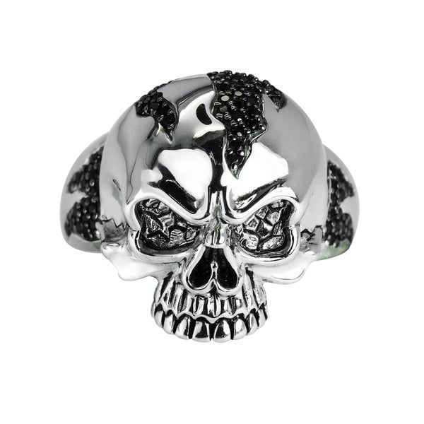 Solid Sterling Silver Skull Ring with Black Spinel for Father's Day, Anniversary and Birthday