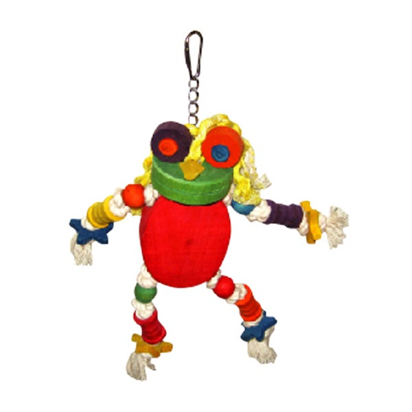 A&E Cage The Silly Wood Frog Bird Toy (multi-colored, 12x...