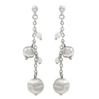 Luxiro Freshwater Pearl with Matte Ball Dangle Earring