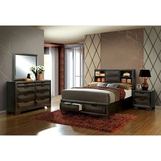 Furniture Of America Stayven Contemporary 4 Piece Bookcase Headboard Espresso Storage Bedroom Set