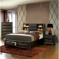The Curated Nomad Gaviota Contemporary 3-piece Bookcase Headboard Espresso Storage Bedroom Set