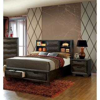 Furniture of America Stayven Contemporary 2-piece Bookcase Headboard Espresso Storage Bed with Nightstand Set