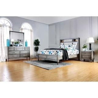 Furniture Of America Braysen Transitional 4 Piece Bookcase Headboard Grey  Bedroom Set (Option: