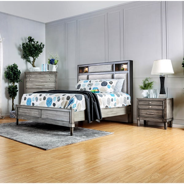 Furniture Of America Braysen Transitional 3 Piece Bookcase Headboard Grey Bedroom  Set