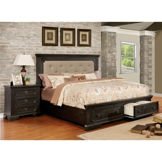 Furniture of America Hollen Classic 2-piece Wire-Brushed Black Tufted Storage Platform Bed with Nightstand Set