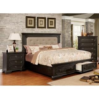 Furniture of America Hollen Classic 3-piece Wire-Brushed Black Tufted Storage Platform Bedroom Set